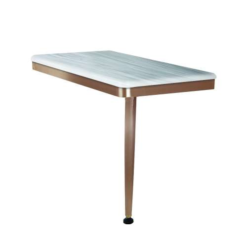 24in x 12in Right-Hand Shower Seat with PVD Coated Champagne Bronze Frame and Leg, in Iceberg Grey