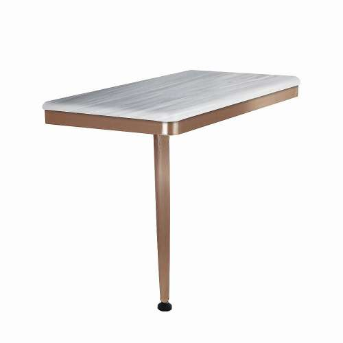 24in x 12in Left-Hand Shower Seat with PVD Coated Champagne Bronze Frame and Leg, in Iceberg Grey