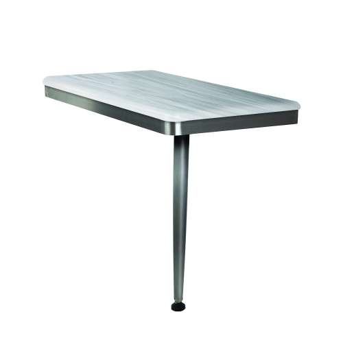 24in x 12in Right-Hand Shower Seat with Brushed Stainless Frame and Leg, in Iceberg Grey