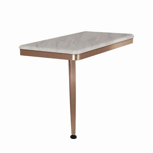 24in x 12in Left-Hand Shower Seat with PVD Coated Champagne Bronze Frame and Leg, in Creme Brulee
