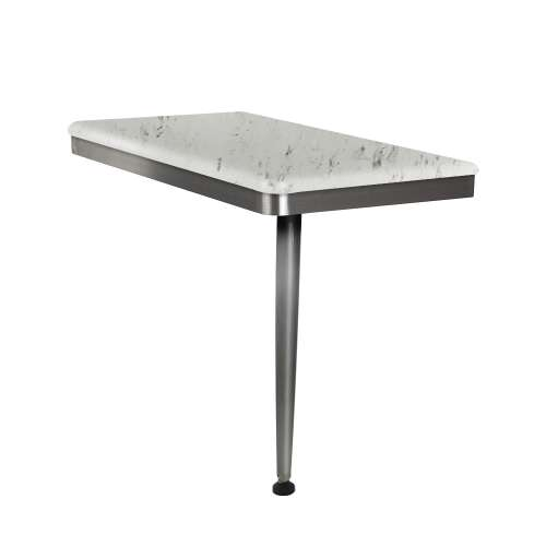 24in x 12in Right-Hand Shower Seat with Brushed Stainless Frame and Leg, in Carrara