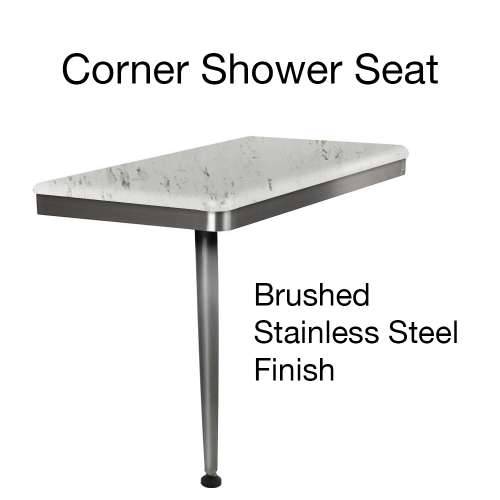 24in x 12in Left-Hand Shower Seat with Brushed Stainless Frame and Leg, in Carrara