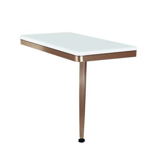 24in x 12in Right-Hand Shower Seat with PVD Coated Champagne Bronze Frame and Leg, in White