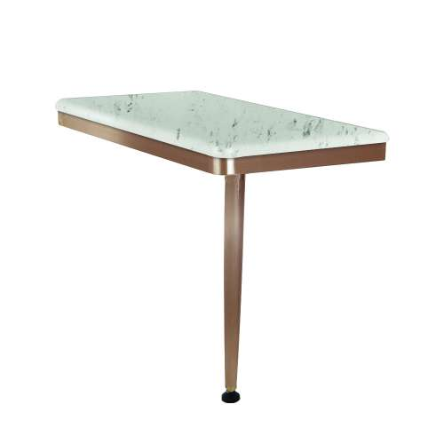 24in x 12in Right-Hand Shower Seat with PVD Coated Champagne Bronze Frame and Leg, in Carrara