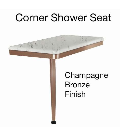 24in x 12in Left-Hand Shower Seat with PVD Coated Champagne Bronze Frame and Leg, in Carrara
