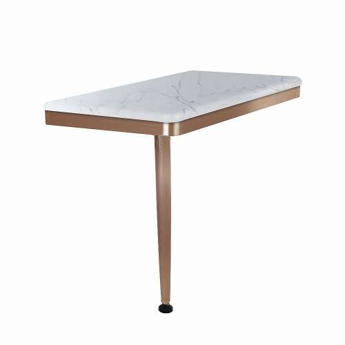 24in x 12in Left-Hand Shower Seat with PVD Coated Champagne Bronze Frame and Leg, in Palladium White