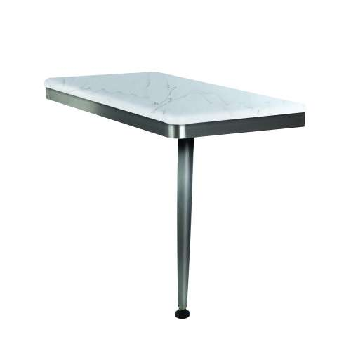 24in x 12in Right-Hand Shower Seat with Brushed Stainless Frame and Leg, in Palladium White