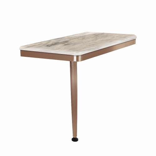 24in x 12in Left-Hand Shower Seat with PVD Coated Champagne Bronze Frame and Leg, in Creme