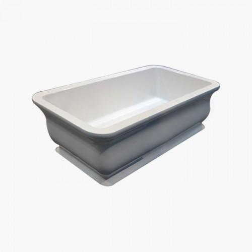Samuel Mueller Caress 71in x 33.5in Resin Stone Freestanding Bathtub with center drain, in White