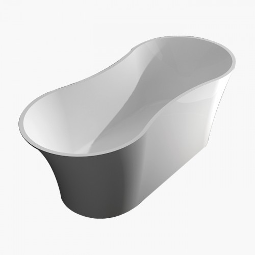 Samuel Mueller Maxwell 64-in x 28-in Resin Stone Freestanding Bathtub with center drain, in White