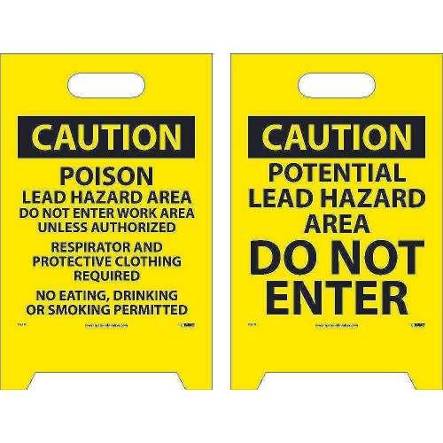 Warning Sign 20X12 - Fs19 2-Side Flr Stnd,.004 Mil Polye
