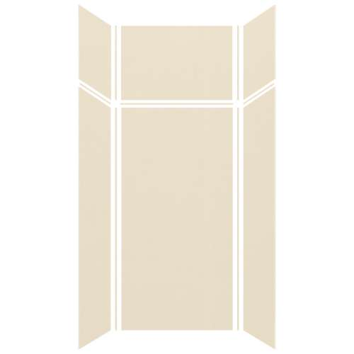 Silhouette 36-in x 36-in x 72/24-in Glue to Wall 3-Piece Transition Shower Wall Kit, Biscuit
