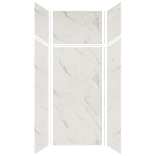 Silhouette 36-in x 36-in x 72/24-in Glue to Wall 3-Piece Transition Shower Wall Kit, Pearl Stone