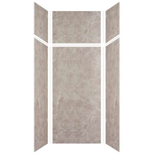 Silhouette 36-in x 36-in x 72/24-in Glue to Wall 3-Piece Transition Shower Wall Kit, Brown Stone