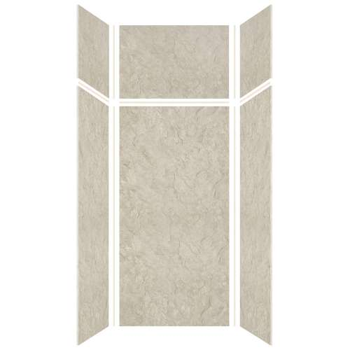 Silhouette 36-in x 36-in x 72/24-in Glue to Wall 3-Piece Transition Shower Wall Kit, Tundra