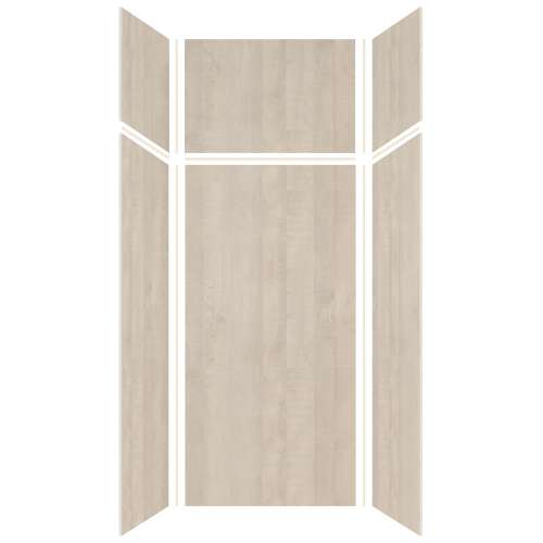 Silhouette 36-in x 36-in x 72/24-in Glue to Wall 3-Piece Transition Shower Wall Kit, Washed Oak