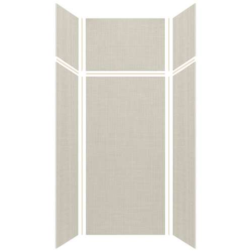 Silhouette 36-in x 36-in x 72/24-in Glue to Wall 3-Piece Transition Shower Wall Kit, Linen