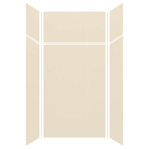 Silhouette 48-in x 36-in x 72/24-in Glue to Wall 3-Piece Transition Shower Wall Kit, Biscuit