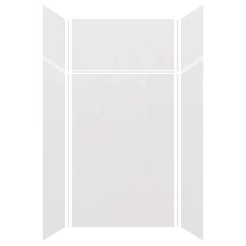 Silhouette 48-in x 36-in x 72/24-in Glue to Wall 3-Piece Transition Shower Wall Kit, Grey