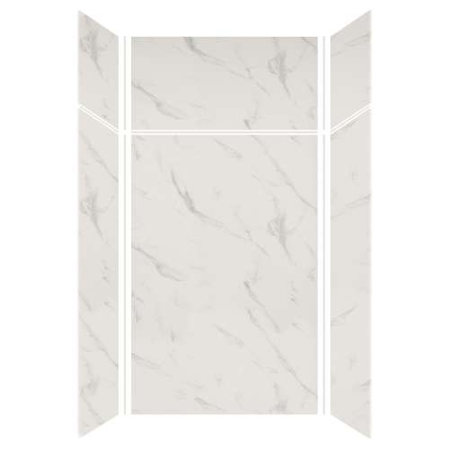 Silhouette 48-in x 36-in x 72/24-in Glue to Wall 3-Piece Transition Shower Wall Kit, Pearl Stone