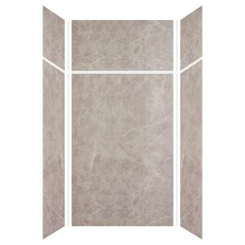 Silhouette 48-in x 36-in x 72/24-in Glue to Wall 3-Piece Transition Shower Wall Kit, Brown Stone
