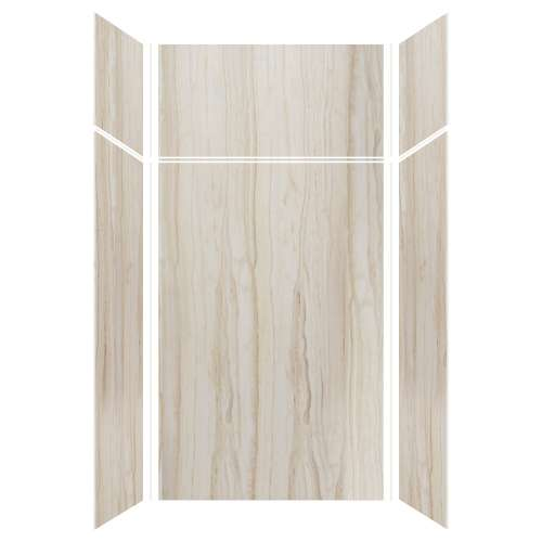 Silhouette 48-in x 36-in x 72/24-in Glue to Wall 3-Piece Transition Shower Wall Kit, Jupiter Stone