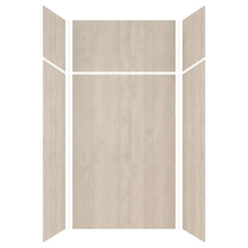 Silhouette 48-in x 36-in x 72/24-in Glue to Wall 3-Piece Transition Shower Wall Kit, Washed Oak