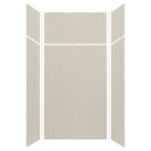 Silhouette 48-in x 36-in x 72/24-in Glue to Wall 3-Piece Transition Shower Wall Kit, Linen