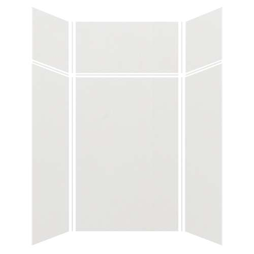 Silhouette 48-in x 48-in x 72/24-in Glue to Wall 3-Piece Transition Shower Wall Kit, Grey