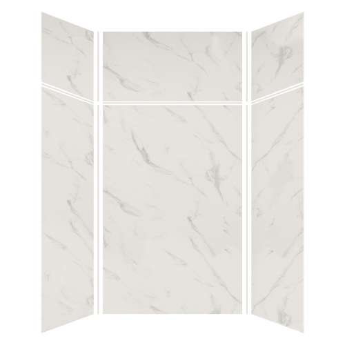 Silhouette 48-in x 48-in x 72/24-in Glue to Wall 3-Piece Transition Shower Wall Kit, Pearl Stone
