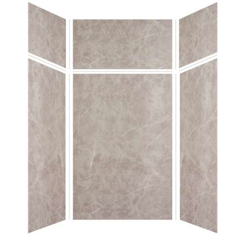 Silhouette 48-in x 48-in x 72/24-in Glue to Wall 3-Piece Transition Shower Wall Kit, Brown Stone