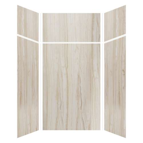 Silhouette 48-in x 48-in x 72/24-in Glue to Wall 3-Piece Transition Shower Wall Kit, Jupiter Stone