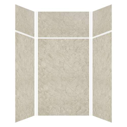 Silhouette 48-in x 48-in x 72/24-in Glue to Wall 3-Piece Transition Shower Wall Kit, Tundra