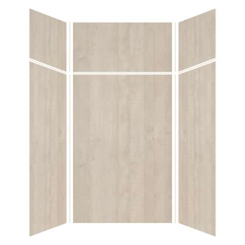 Silhouette 48-in x 48-in x 72/24-in Glue to Wall 3-Piece Transition Shower Wall Kit, Washed Oak