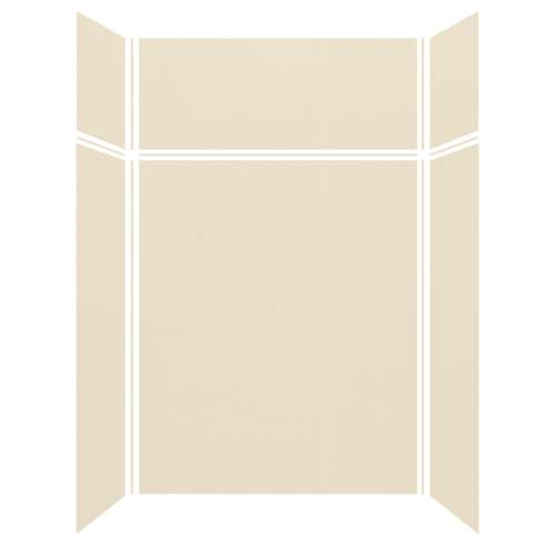 Silhouette 60-in x 32-in x 72/24-in Glue to Wall 3-Piece Transition Shower Wall Kit, Biscuit
