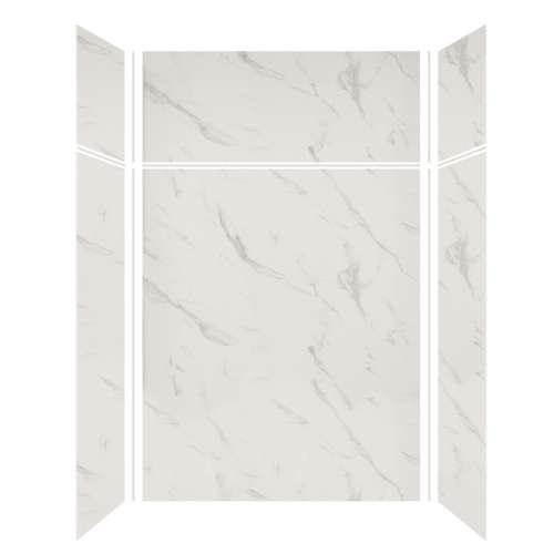 Silhouette 60-in x 32-in x 72/24-in Glue to Wall 3-Piece Transition Shower Wall Kit, Pearl Stone