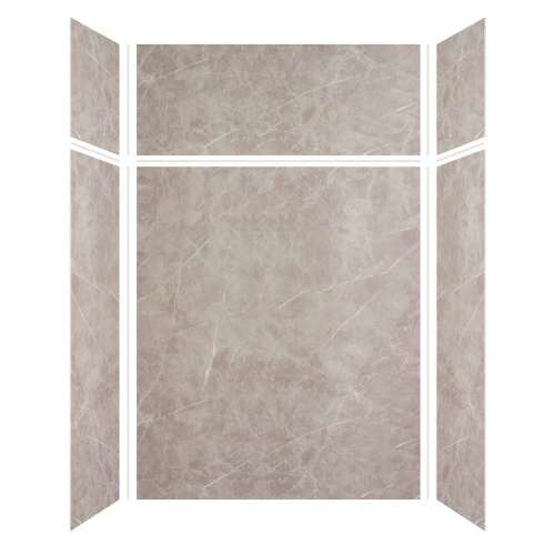 Silhouette 60-in x 32-in x 72/24-in Glue to Wall 3-Piece Transition Shower Wall Kit, Brown Stone