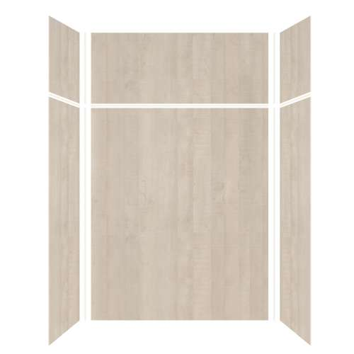 Silhouette 60-in x 32-in x 72/24-in Glue to Wall 3-Piece Transition Shower Wall Kit, Washed Oak
