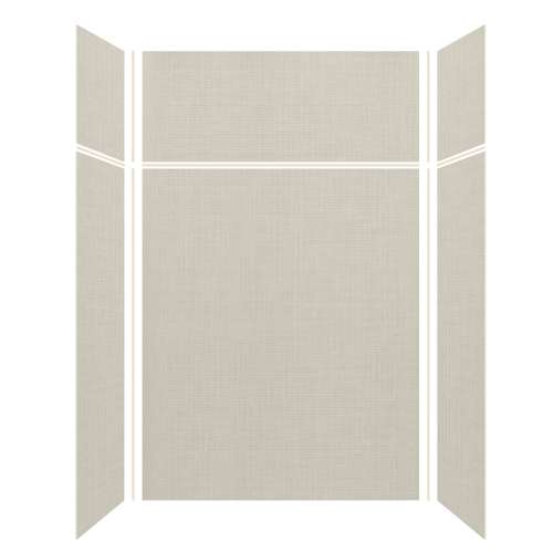 Silhouette 60-in x 32-in x 72/24-in Glue to Wall 3-Piece Transition Shower Wall Kit, Linen