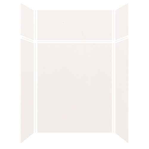 Silhouette 60-in x 36-in x 72/24-in Glue to Wall 3-Piece Transition Shower Wall Kit, White