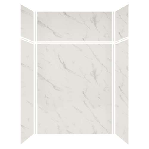 Silhouette 60-in x 36-in x 72/24-in Glue to Wall 3-Piece Transition Shower Wall Kit, Pearl Stone