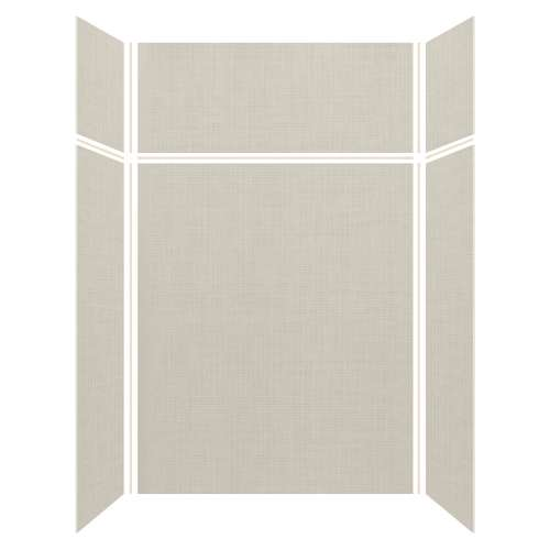Silhouette 60-in x 36-in x 72/24-in Glue to Wall 3-Piece Transition Shower Wall Kit, Linen