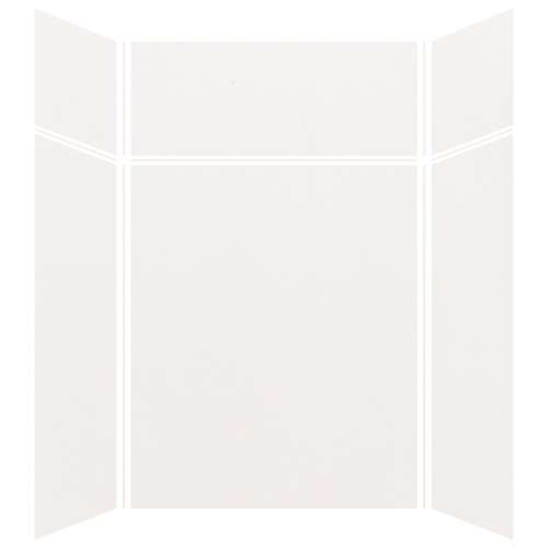 Silhouette 60-in x 48-in x 72/24-in Glue to Wall 3-Piece Transition Shower Wall Kit, White