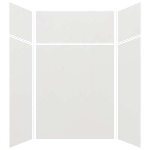 Silhouette 60-in x 48-in x 72/24-in Glue to Wall 3-Piece Transition Shower Wall Kit, Grey