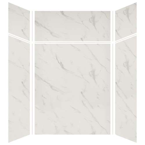 Silhouette 60-in x 48-in x 72/24-in Glue to Wall 3-Piece Transition Shower Wall Kit, Pearl Stone
