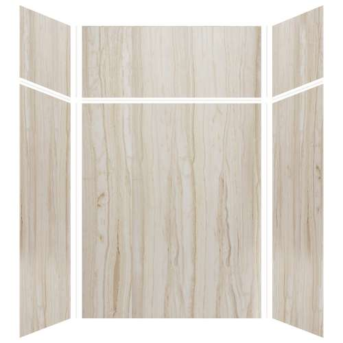 Silhouette 60-in x 48-in x 72/24-in Glue to Wall 3-Piece Transition Shower Wall Kit, Jupiter Stone