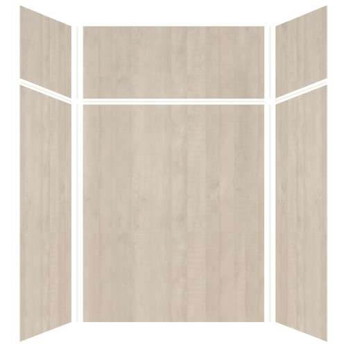 Silhouette 60-in x 48-in x 72/24-in Glue to Wall 3-Piece Transition Shower Wall Kit, Washed Oak