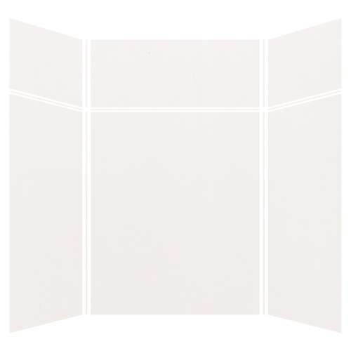 Silhouette 60-in x 60-in x 72/24-in Glue to Wall 3-Piece Transition Shower Wall Kit, White