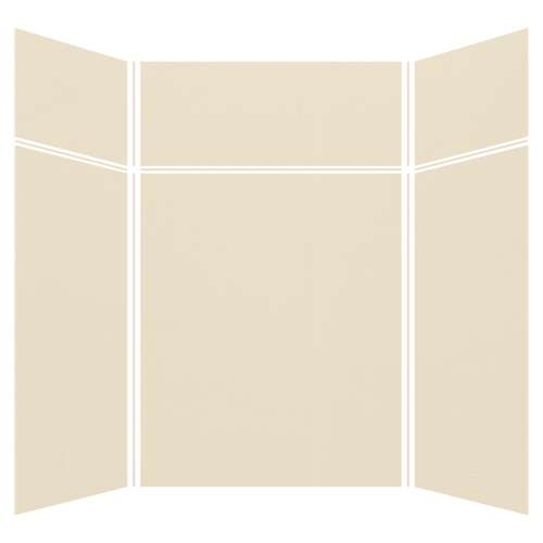 Silhouette 60-in x 60-in x 72/24-in Glue to Wall 3-Piece Transition Shower Wall Kit, Biscuit