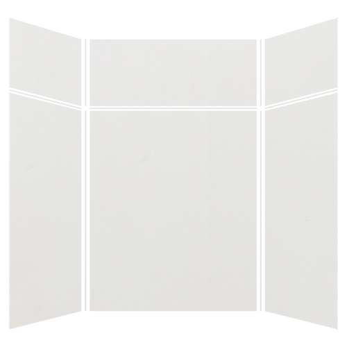 Silhouette 60-in x 60-in x 72/24-in Glue to Wall 3-Piece Transition Shower Wall Kit, Grey